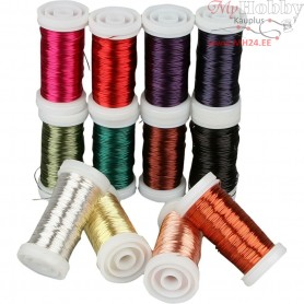 Soft Jewellery Wire - Assortment, thickness 0,5 mm, asstd colours, 12x50m