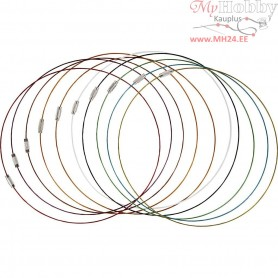 Wire with Clasp, thickness 1 mm, L: 45 cm, 20mixed