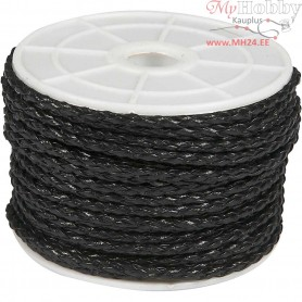 Plaited Cord,  3 mm, black, 25m