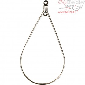 Beading Hoops, size 25x49 mm, silver-plated, 60pcs