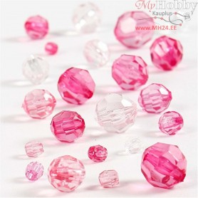Faceted Bead Mix, size 4-12 mm, hole size 1-2,5 mm, pink harmony, 45g, approx. 170 pc