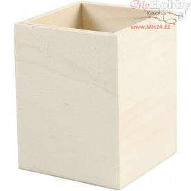 Pencil Holder, H: 9,5 cm, size 7,5x7,5 cm, plywood, 1pc