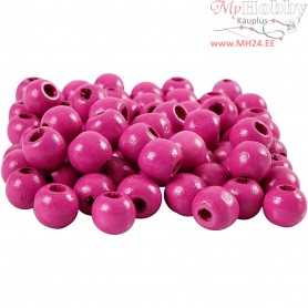 Wooden Beads, D: 12 mm, hole size 3 mm, pink, 22g, approx. 40 pc
