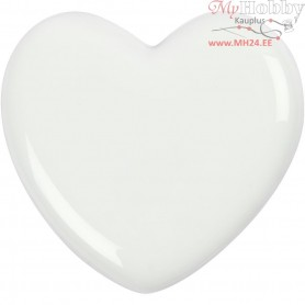 Heart, size 6,5x6,5 cm, thickness 10 mm, white, 1pc