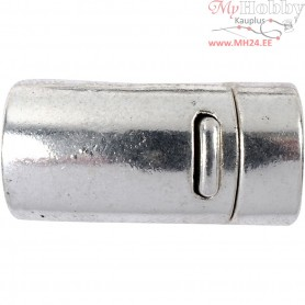 Magnetic Clasp, D: 26 , hole size 10 mm, antique silver, 1pc