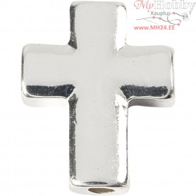 Cross, size 13x17 mm, hole size 2 mm, silver-plated, 3pcs