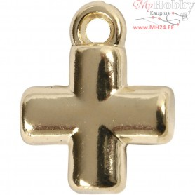 Cross, size 10x10 mm, hole size 1,5 mm, gold-plated, 4pcs