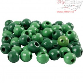 Wooden Beads, D: 10 mm, hole size 3 mm, green, 20g, approx. 70 pc