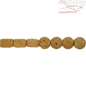 Resin Beads, size 24x38 + 31x22 mm, hole size 2 mm, light natural, 7mixed
