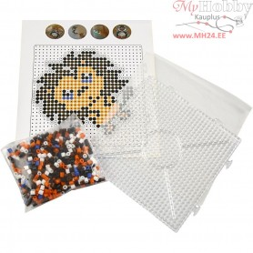 Fuse Beads - Starter Kit, size 5x5 mm, hole size 2,5 mm, asstd colours, lion, 1set