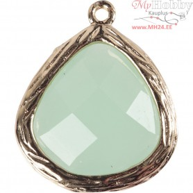 Jewellery Pendant, size 15x18 mm, hole size 1 mm, light green, 1pc
