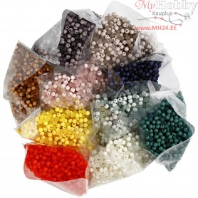 Plastic Beads, D: 6 mm, hole size 1,5 mm, 10x40g, approx. 10x150 pc
