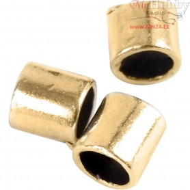 Crimpy Beads Tubes, size 2x2 mm, hole size 1,4 mm, gold-plated, 80pcs