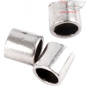 Crimpy Beads Tubes, size 2x2 mm, hole size 1,4 mm, silver-plated, 80pcs