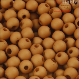 Plastic Beads, D: 6 mm, hole size 2 mm, brown, 40g, approx. 150 pc