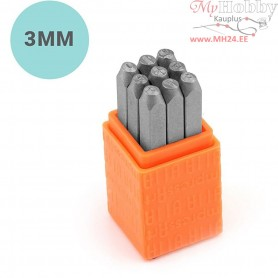 Embossing Stamps, size 3 mm, Numbers, 9pcs