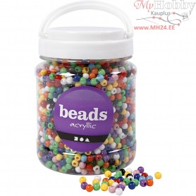Pony Beads, D: 6 mm, hole size 3 mm, asstd colours, 425 g, 700ml, approx. 3830 pc