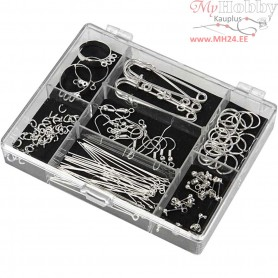 Jewellery Finding Starter Kit, silver-plated, 1set