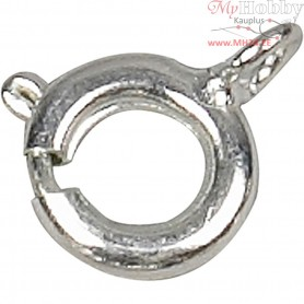 Spring Ring Clasps,  7 mm, silver-plated, 100pcs