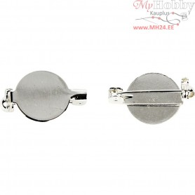 Brooch Backs, D: 20 mm, silver-plated, 5pcs