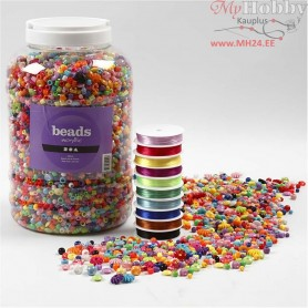 Plastic Beads and Elastic Beading Cord, size 6-20 mm, hole size 1,5-6 mm, 1asstment