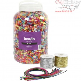 Bucket Containing Plastic Beads, Elastic Cord and Bracelets, size 6-20 mm, hole size 1,5-6 mm, 1set