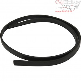 Faux Leather Belt, W: 10 mm, thickness 3 mm, black, 1m