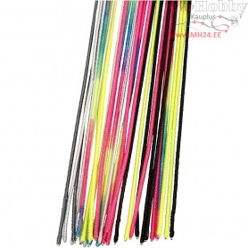 Wire with Nylon, L: 40 cm, thickness 1,5 mm, asstd colours, 30mixed