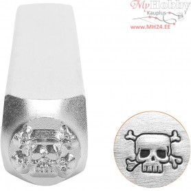 Embossing Stamp, size 6 mm, L: 65 mm, Scull, 1pc