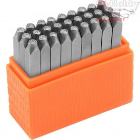 Embossing Stamps, size 3 mm, Capital letters, 27pcs