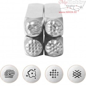 Embossing Stamps, size 6 mm, L: 65 mm, Graphic pattern 2, 4pcs
