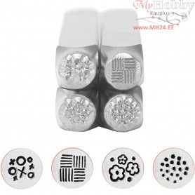 Embossing Stamps, size 6 mm, L: 65 mm, Graphic pattern 1, 4pcs