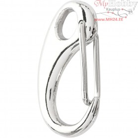 Lobster Claw Clasps, L: 30 mm, W: 15 mm, silver-plated, 2pcs