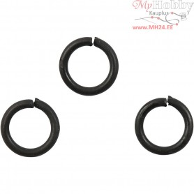 Jump Ring, thickness 1 mm, inner size 5 mm, black, 50pcs,  7 mm