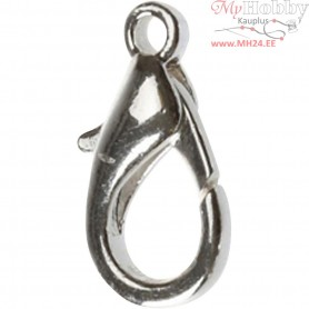 Lobster Claw Clasps, L: 18 mm, silver-plated, 25pcs