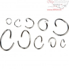 Oval & Round Jump Rings - Assortment, inner size 3-13 mm, silver-plated, 800mixed