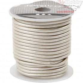 Leather Cord, thickness 2 mm, white, 10m