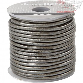 Leather Cord, thickness 2 mm, metallic grey, 10m