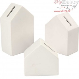 Money Boxes, House, H: 9+12+15 cm, thickness 5,3 cm, white, 3pcs