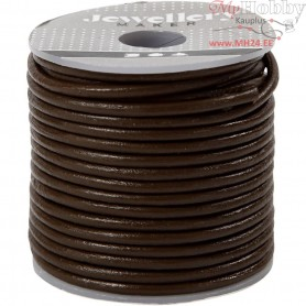 Leather Cord, thickness 2 mm, brown, 10m