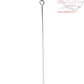 Eye Pins, L: 50 mm, silver-plated, 30pcs