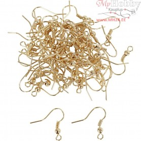 French Ear Wires, L: 18 mm, gold-plated, 100pcs