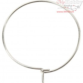 Beading Hoops, D: 20 mm, silver-plated, 8pcs