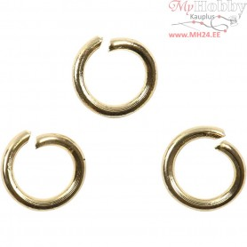 Jump Ring, thickness 1,2 mm, inner size 5 mm, gold-plated, 50pcs,  7 mm