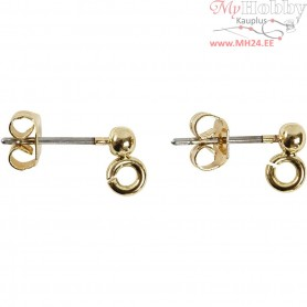Stud Earrings, L: 15 mm, hole size 0,8 mm, gold-plated, 6pcs, D: 3,8 mm