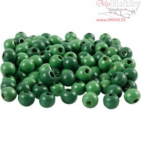 Wooden Beads, D: 8 mm, hole size 2 mm, green, 15g, approx. 80 pc