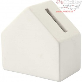 Money Box, size 9x9 cm, thickness 5,3 cm, white, 8pcs