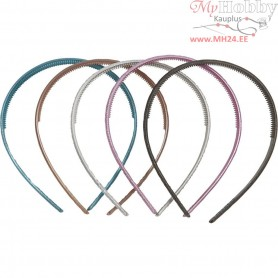 Hair Band, W: 10 mm, mother of pearl colo, 10mixed