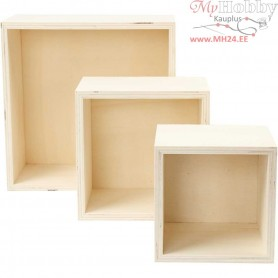 Storage Boxes, square, H: 11+14+20 cm, depth 10 cm, plywood, 3pcs