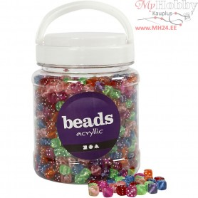 Dice Bead Mix, size 7x7 mm, hole size 1,5 mm, asstd colours, 500 gr, 700ml, approx. 1070 pc
